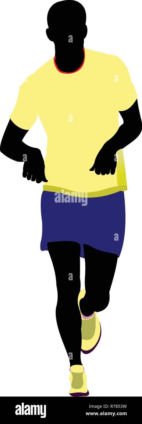 The running people. Vector illustration - Stock Vector