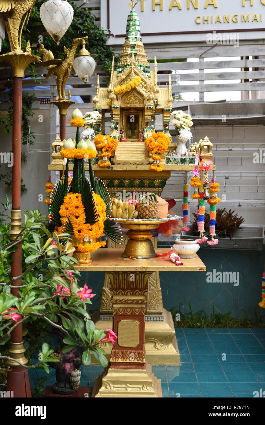 Spirit house outside a Chiang Mai hotel, Thailand - Stock Image