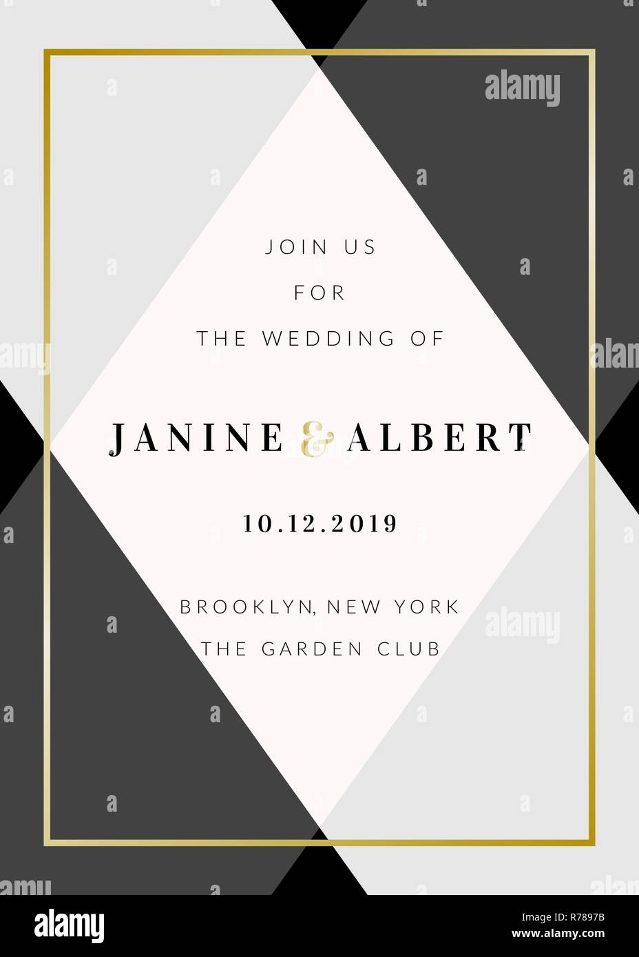 Wedding invitation template with geometric elements in black and gray, gold  decoration, sample text layout. Vector greeting card, bridal shower, broch  Stock Vector Image & Art - Alamy
