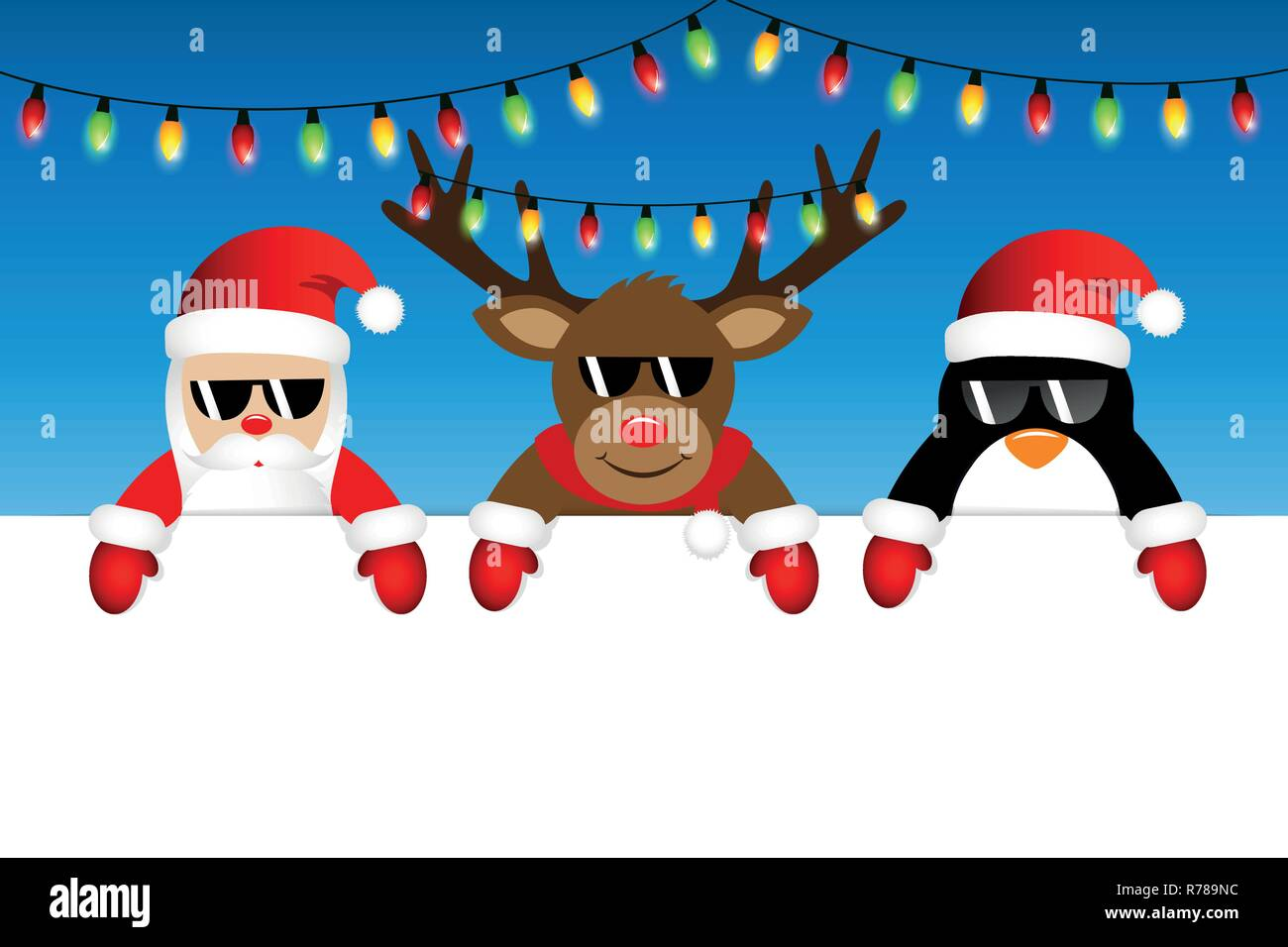 Christmas Fairy Lights Illustration.Cute Santa Reindeer And Penguin With Sunglasses And