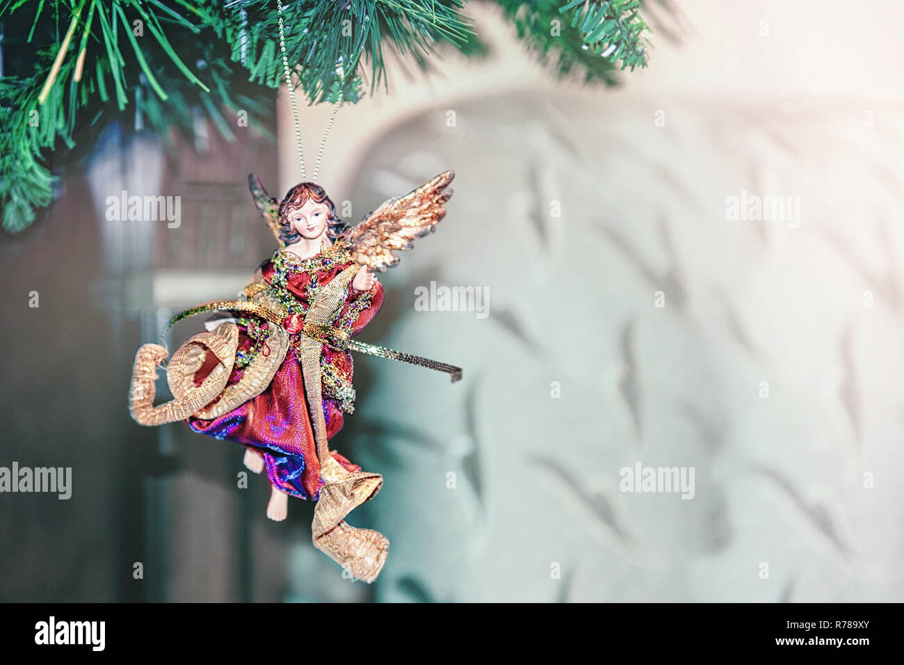 Beautiful Christmas Decorations In The Form Of An Angel Hanging On Tree Home Decoration For