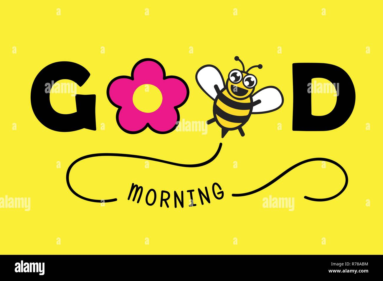 good morning typography greeting card with pink flower and honey bee vector illustration EPS10 - Stock Vector