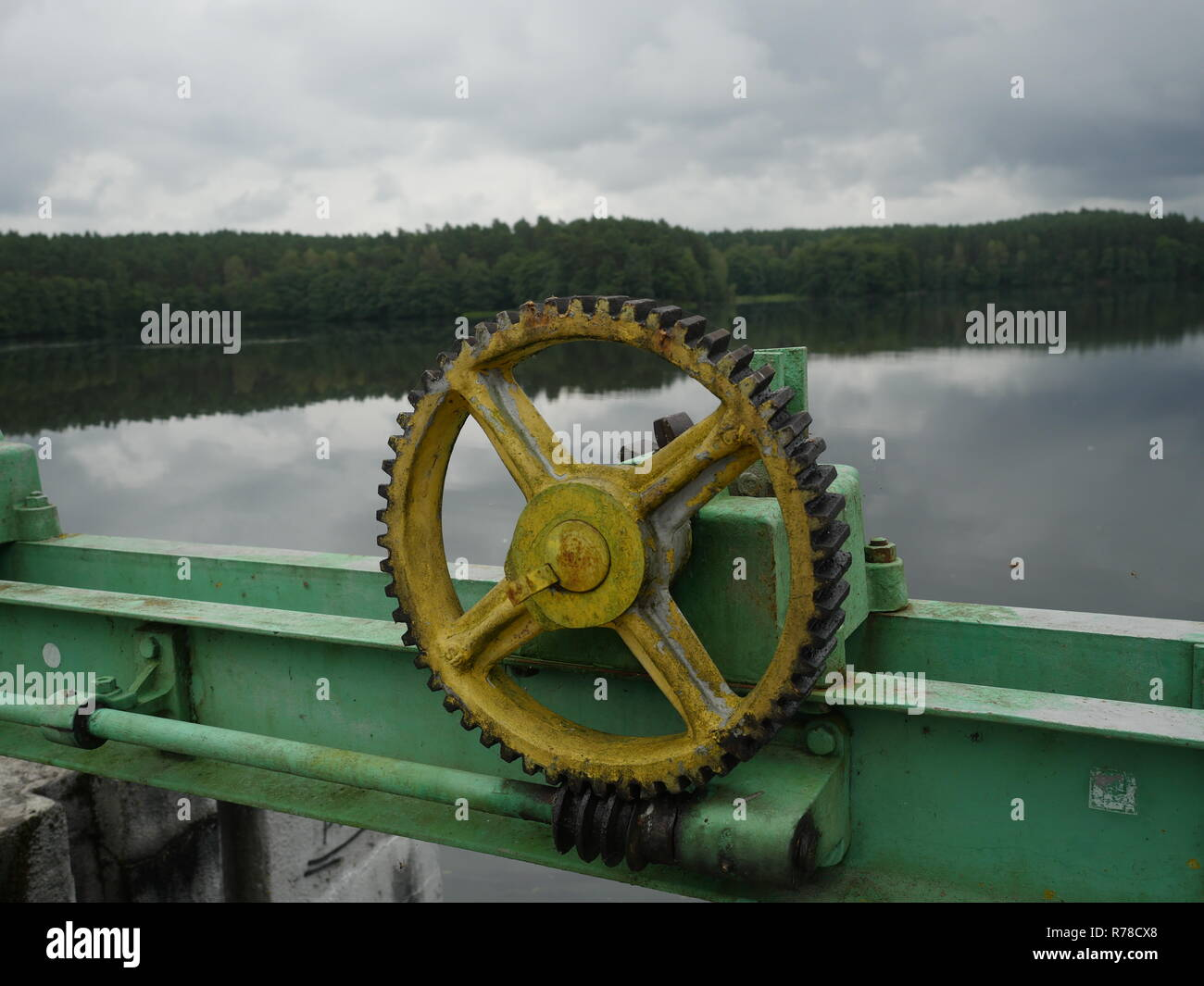 water barrier lifting mechanism with toothed wheels Stock Photo