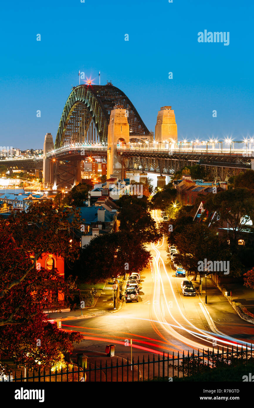 An overlooking view of Sydney Harbour Bridge during twilight Stock Photo