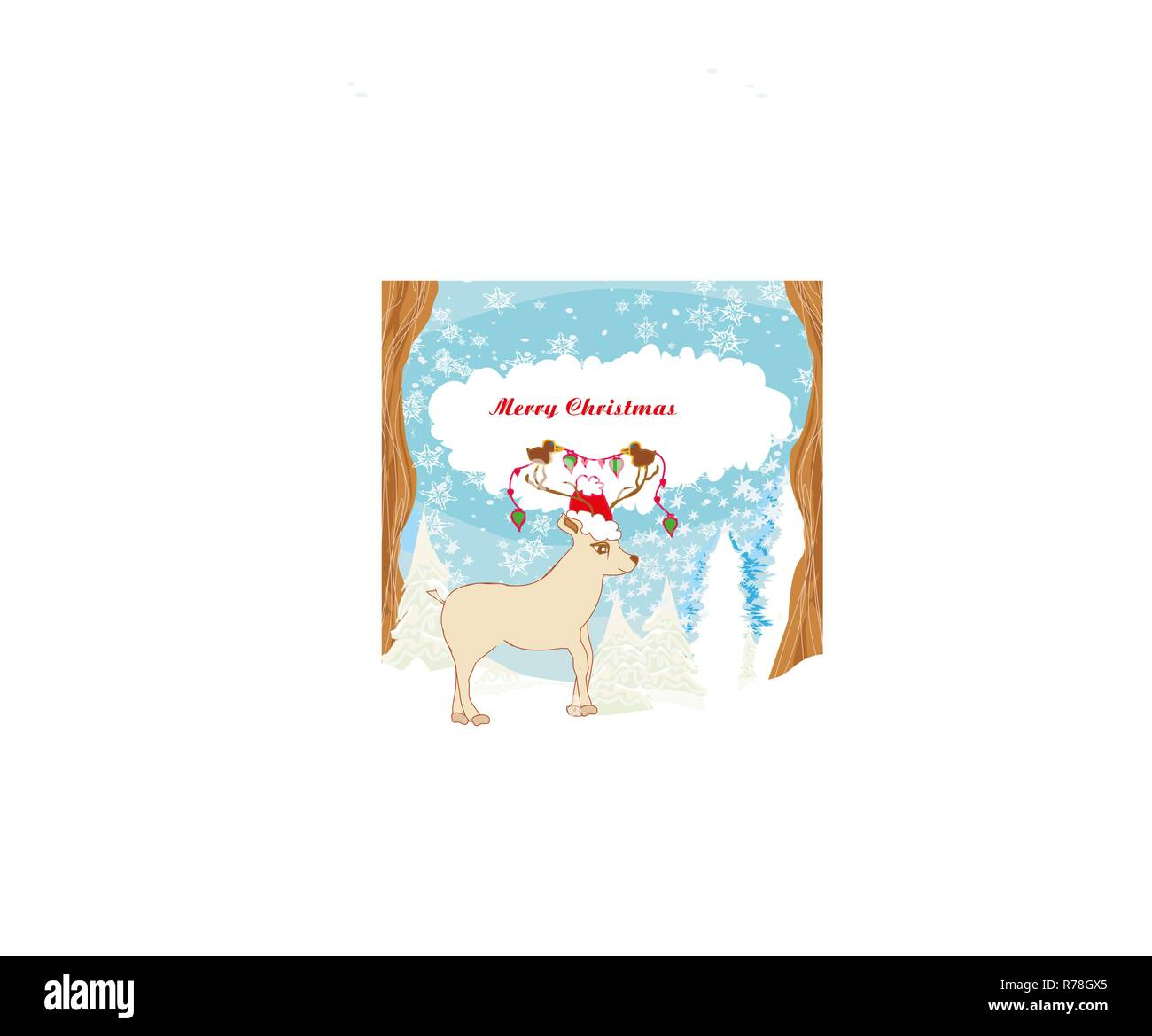 Abstract Christmas card with reindeer and birds Stock Vector