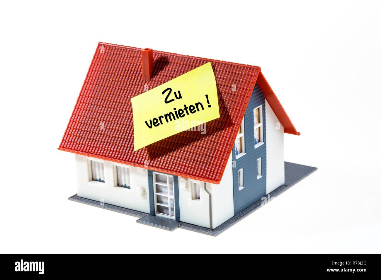 Real estate symbol, house to be rented, German language - Stock Image