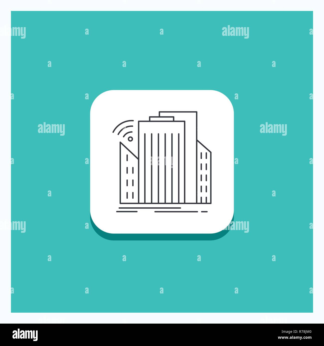 Round Button for Buildings, city, sensor, smart, urban Line icon Turquoise Background - Stock Vector