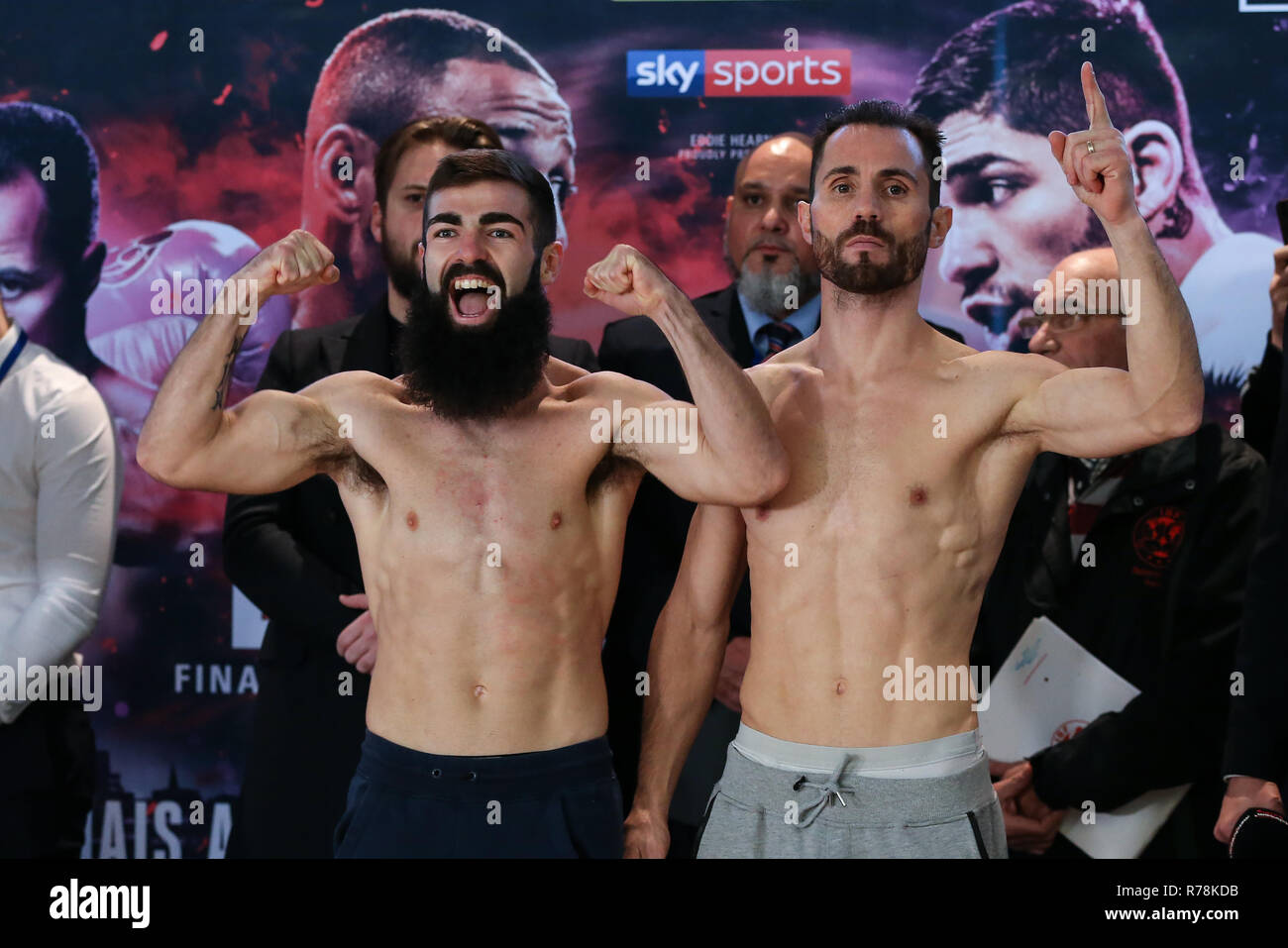 Jono Carroll Boxer, Jono Carroll weighs in ahead of his fight with Guillaume Frenois on a Matchroom Boxing event in Sheffield, UK. - Stock Image