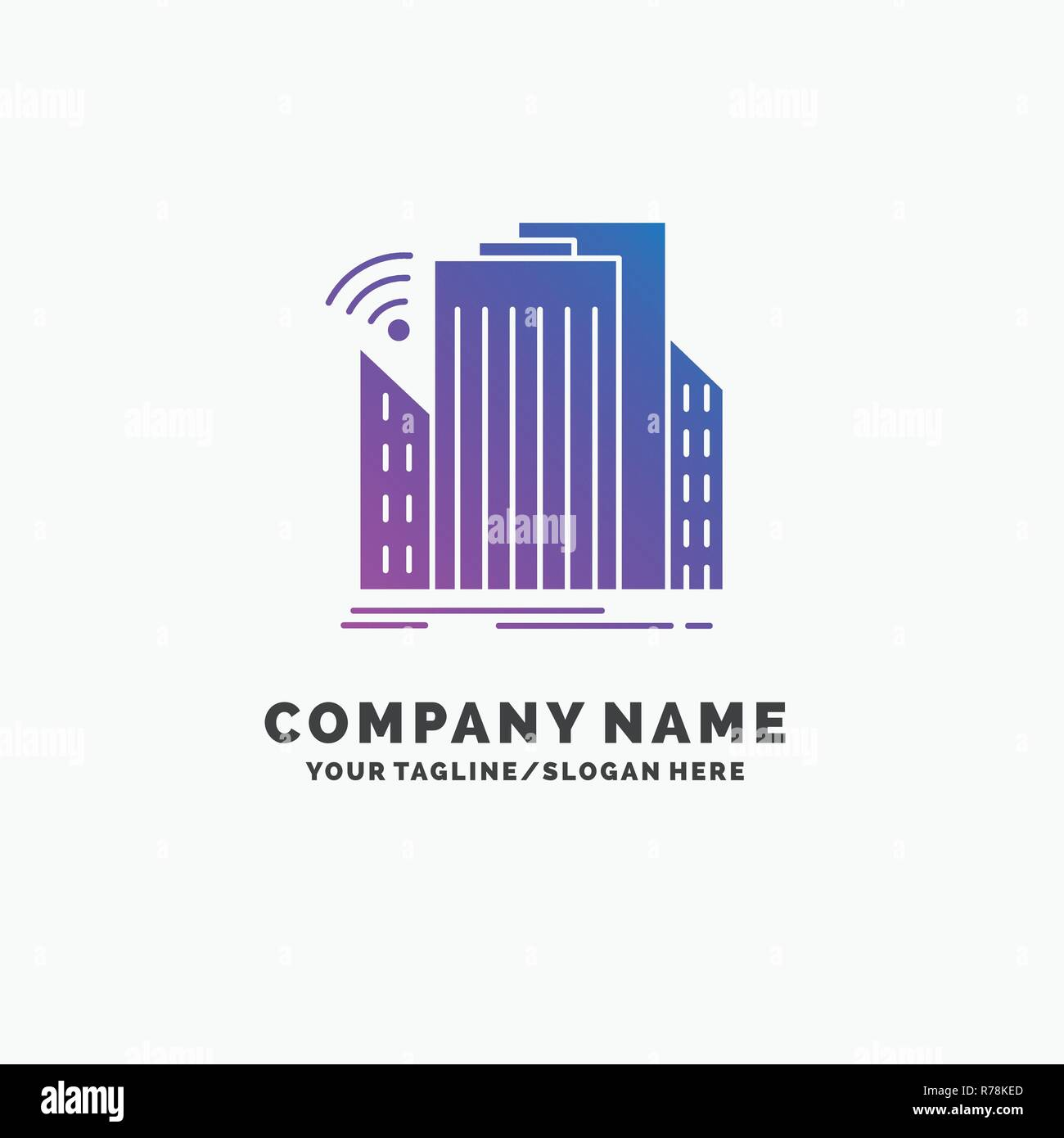 Buildings, city, sensor, smart, urban Purple Business Logo Template. Place for Tagline. - Stock Vector