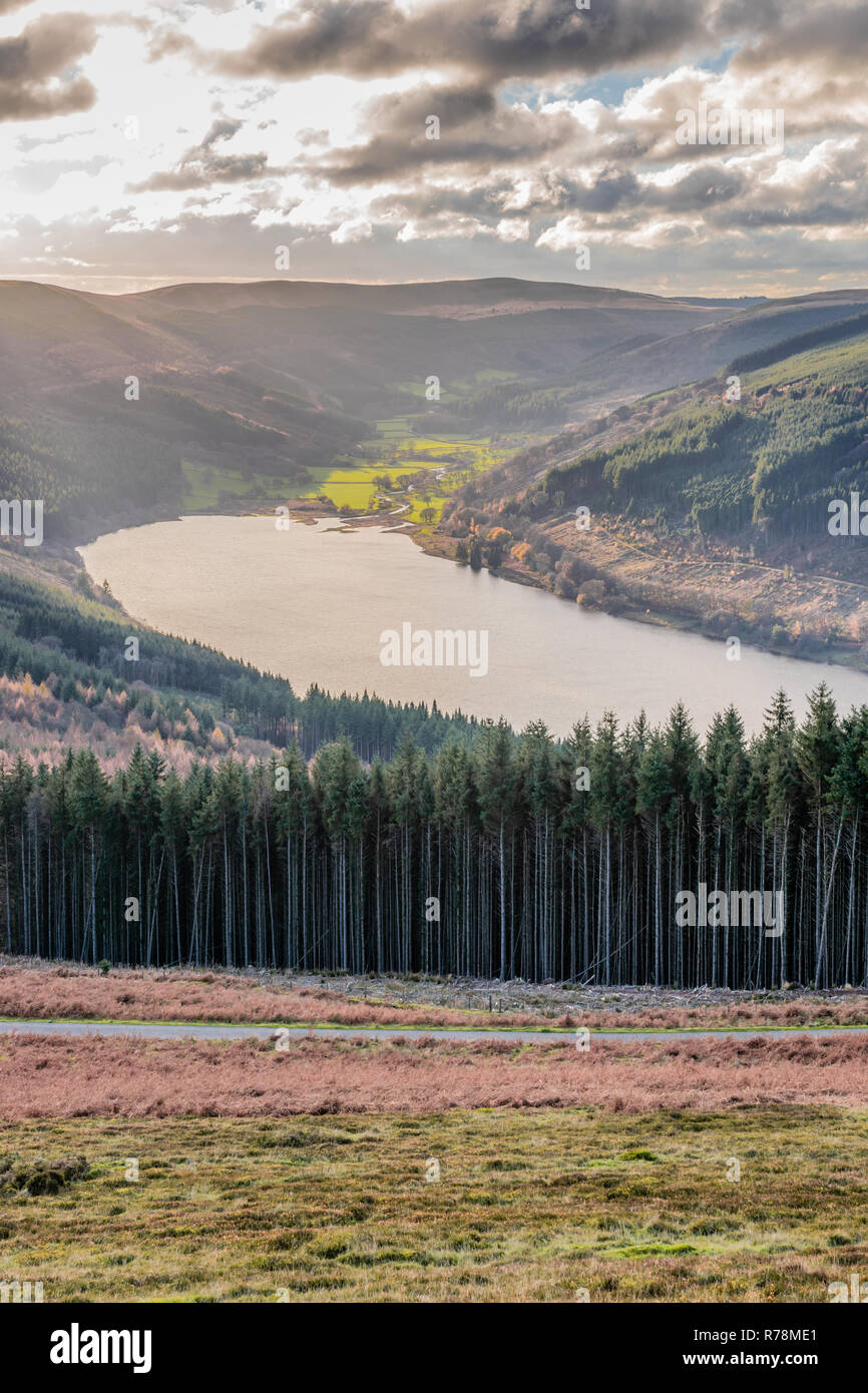 Scenic view over the Talybont Reservoir from Tor-y-foel in the Brecon Beacons National Park during autumn, Powys, Wales. UK - Stock Image