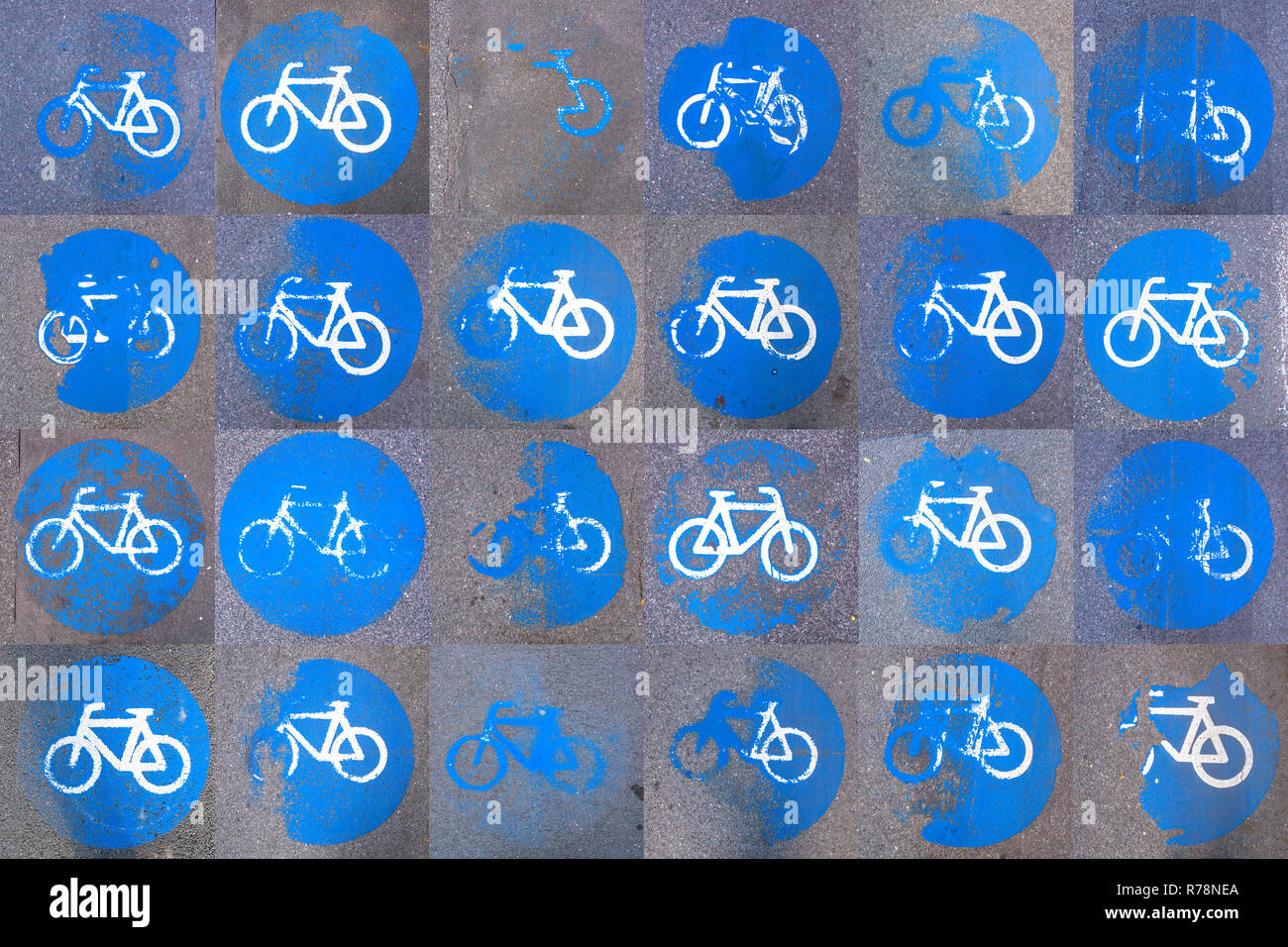Collage of cycle track markings on a pavement, partly worn away Stock Photo