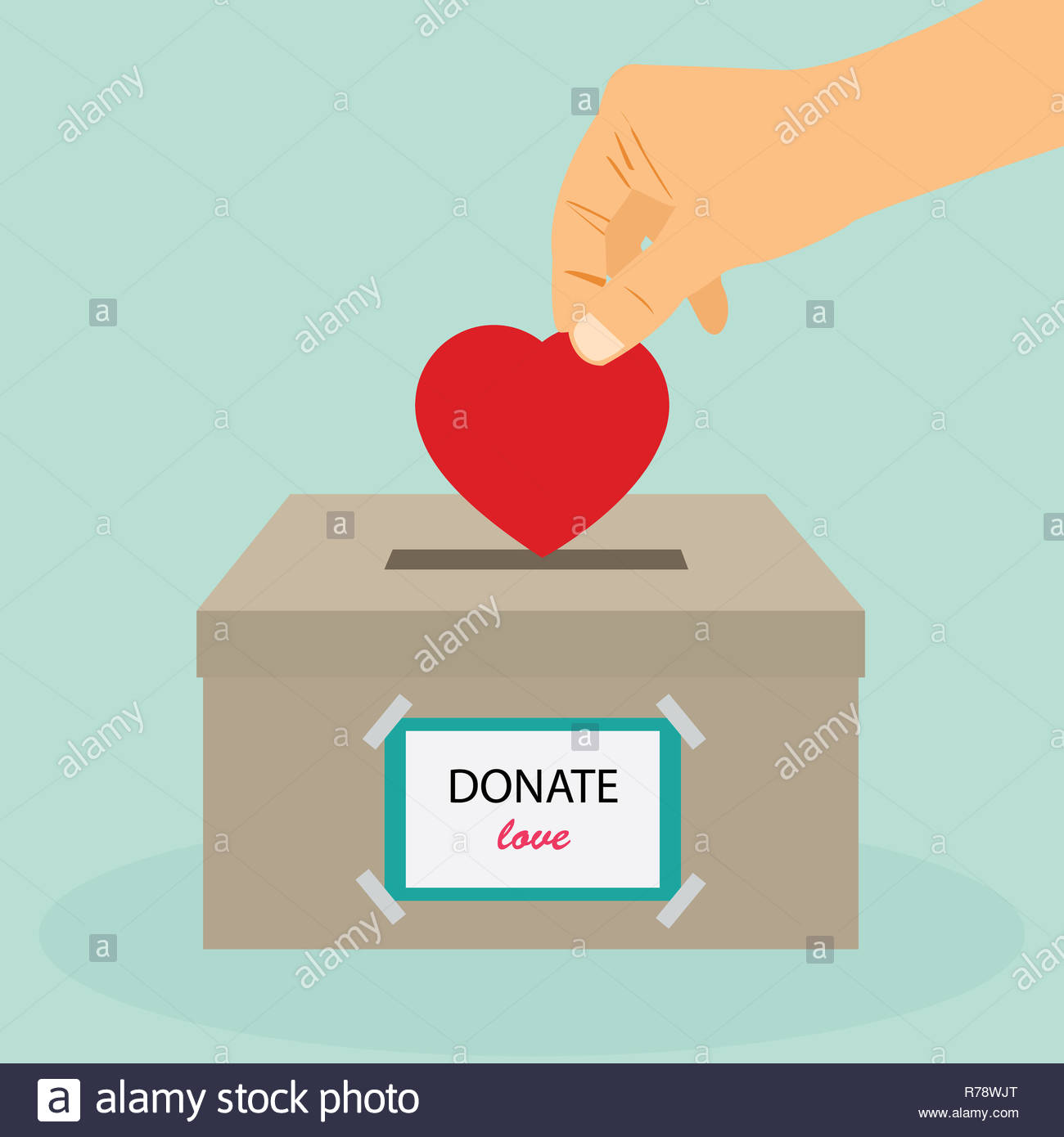 Donation box. Donate blood. Concept of Care and Love. Hand take heart into donate box. Vector stock. - Stock Image