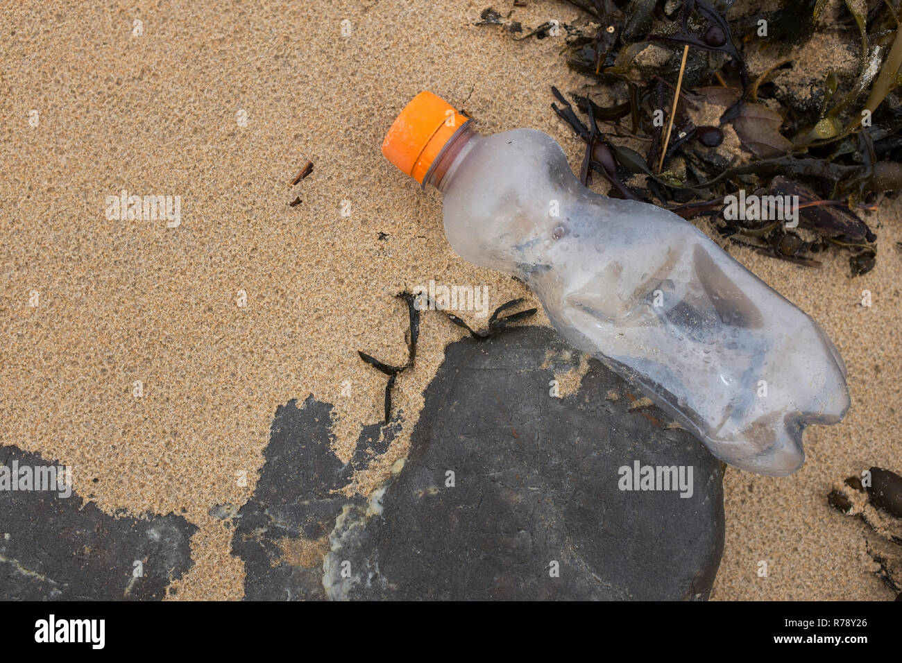 Small plastic water soft drink bottle on a beach - Stock Image