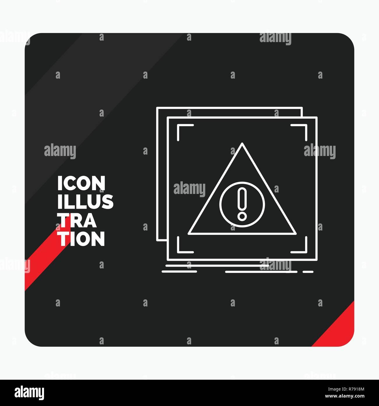 Red and Black Creative presentation Background for Error, Application, Denied, server, alert Line Icon - Stock Image