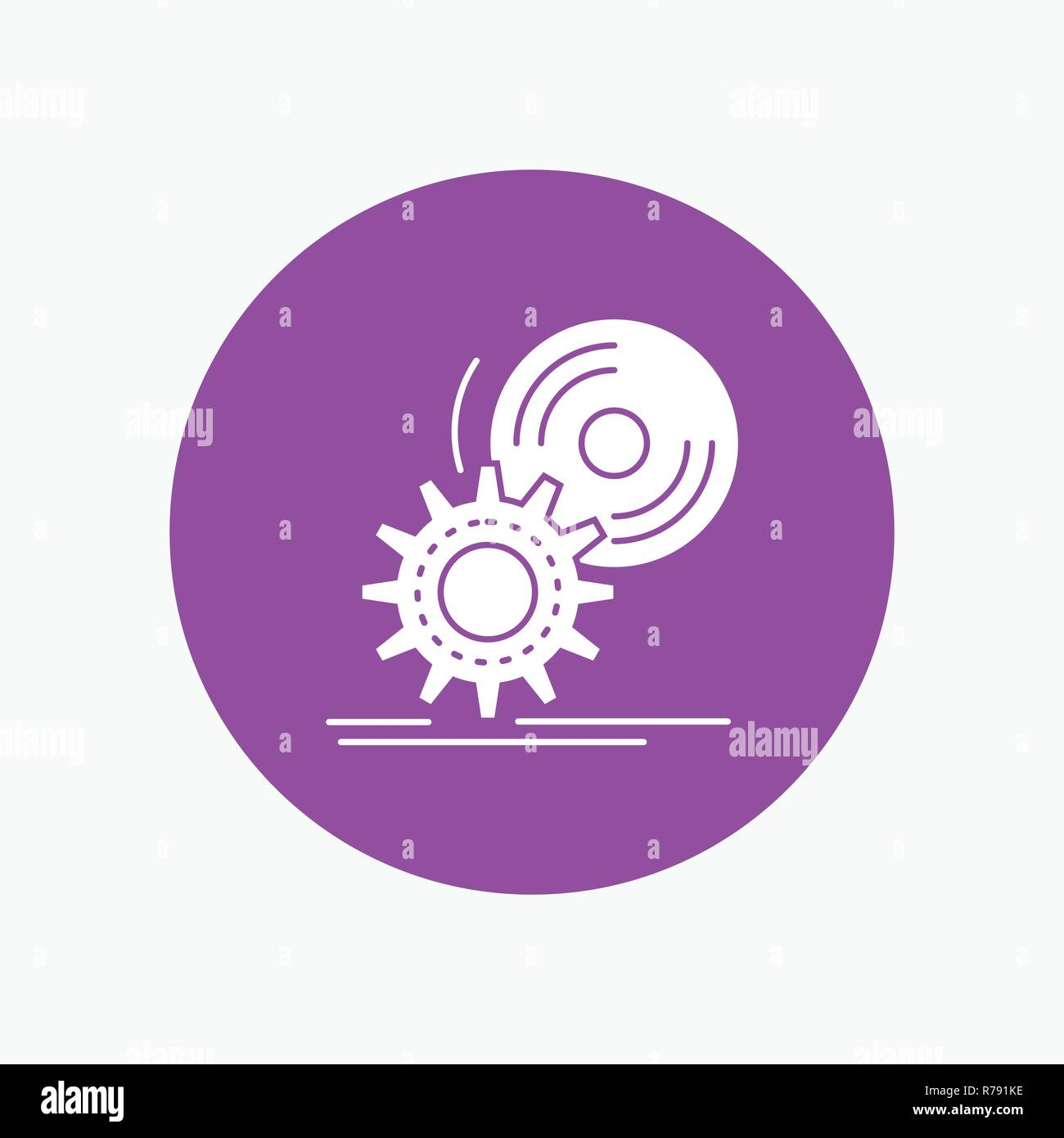 cd, disc, install, software, dvd White Glyph Icon in Circle