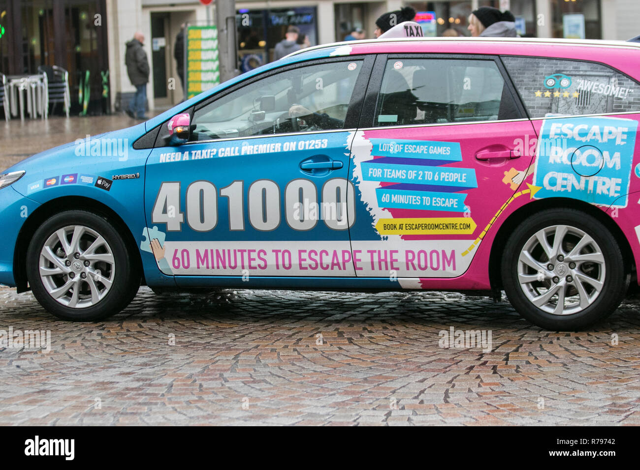 Taxi cab for hire in Blackpool, UK - Stock Image