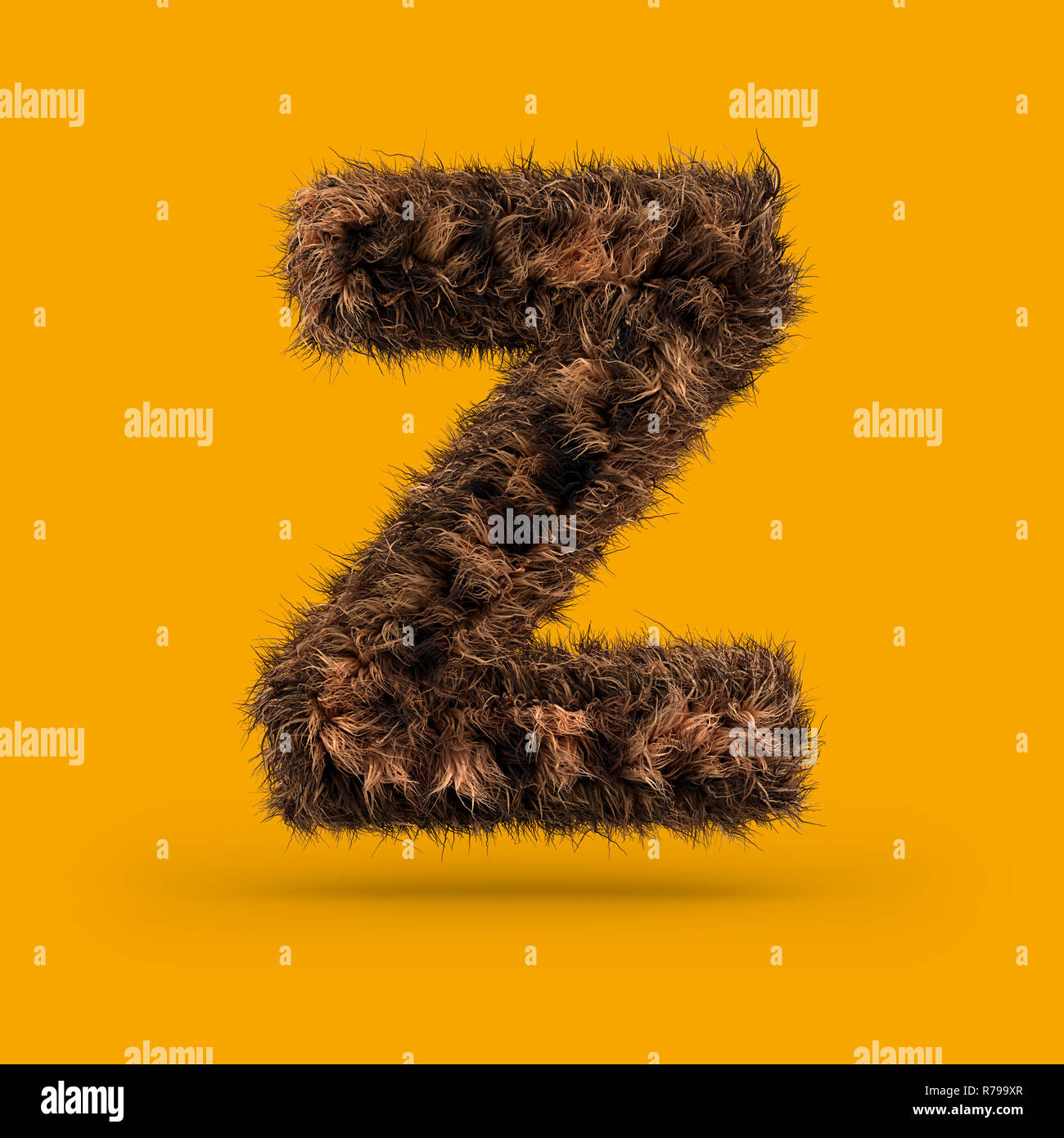 Uppercase fluffy and furry font made of fur texture for poster printing, branding, advertising. Letter Z. 3D rendering Stock Photo