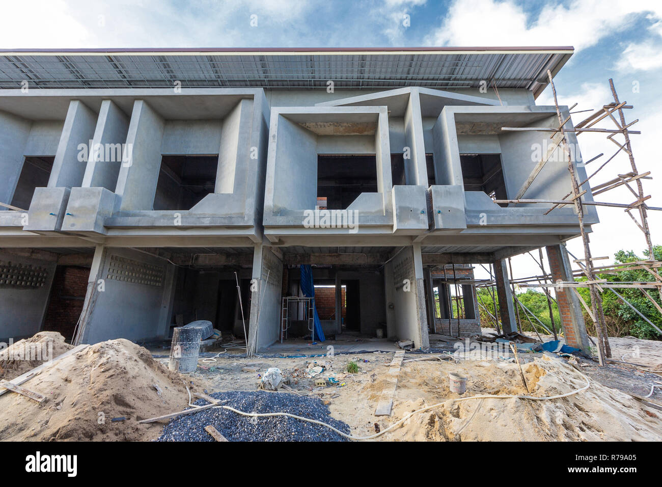 Two storey houses are under construction in thailand modern house design