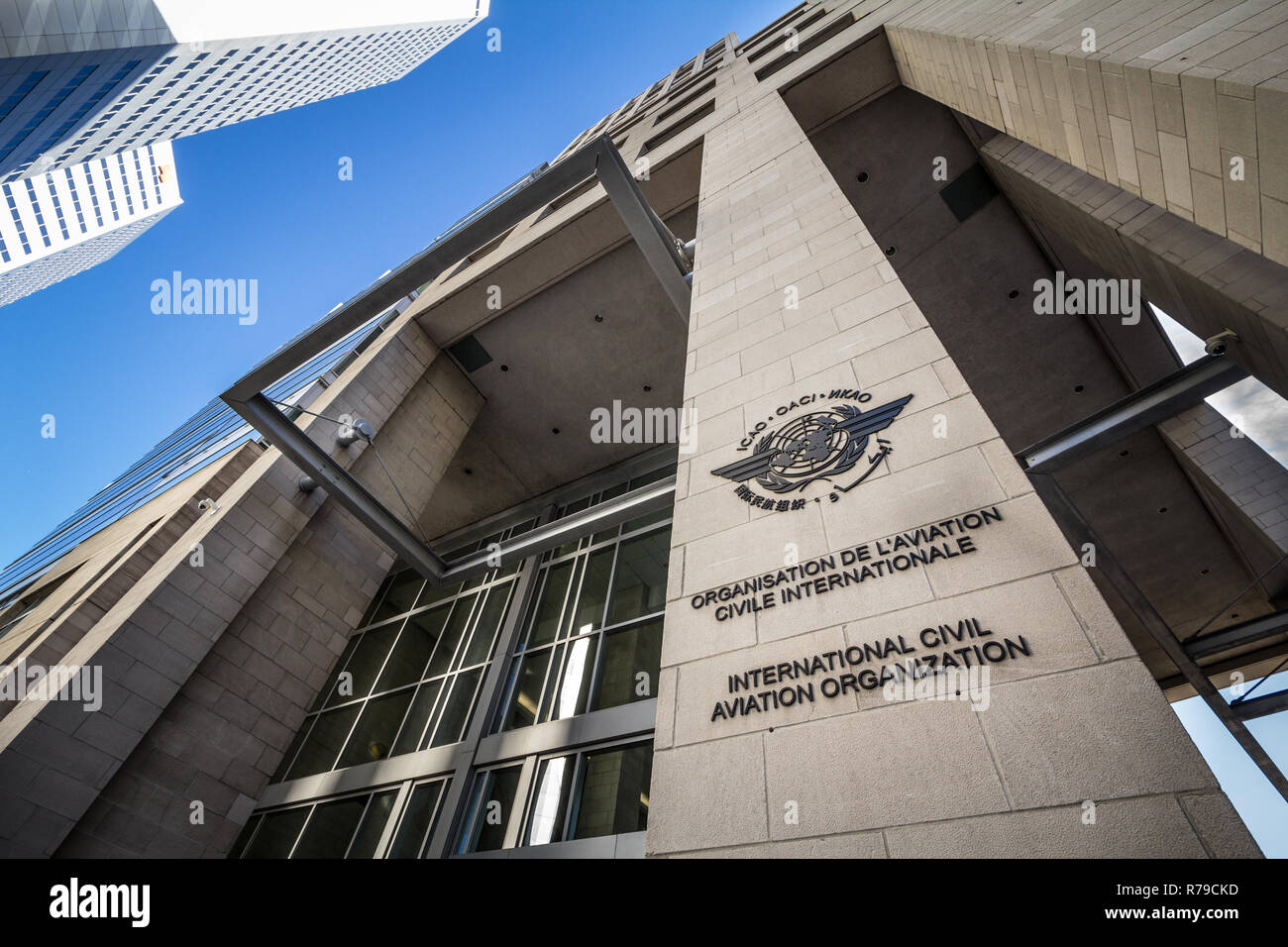MONTREAL, CANADA - NOVEMBER 4, 2018: Logo of the international civil aviation organization, on their heaquarters office. Also called OACI, it's the UN - Stock Image