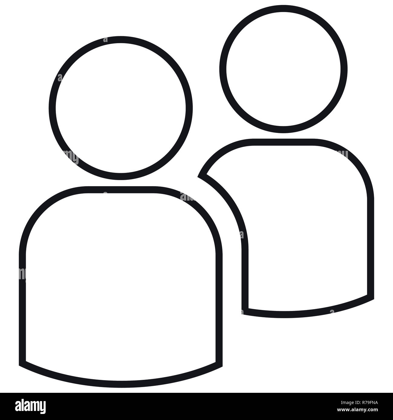 Icon two contours of people. Simple  illustration. Isolated on a white background. - Stock Image