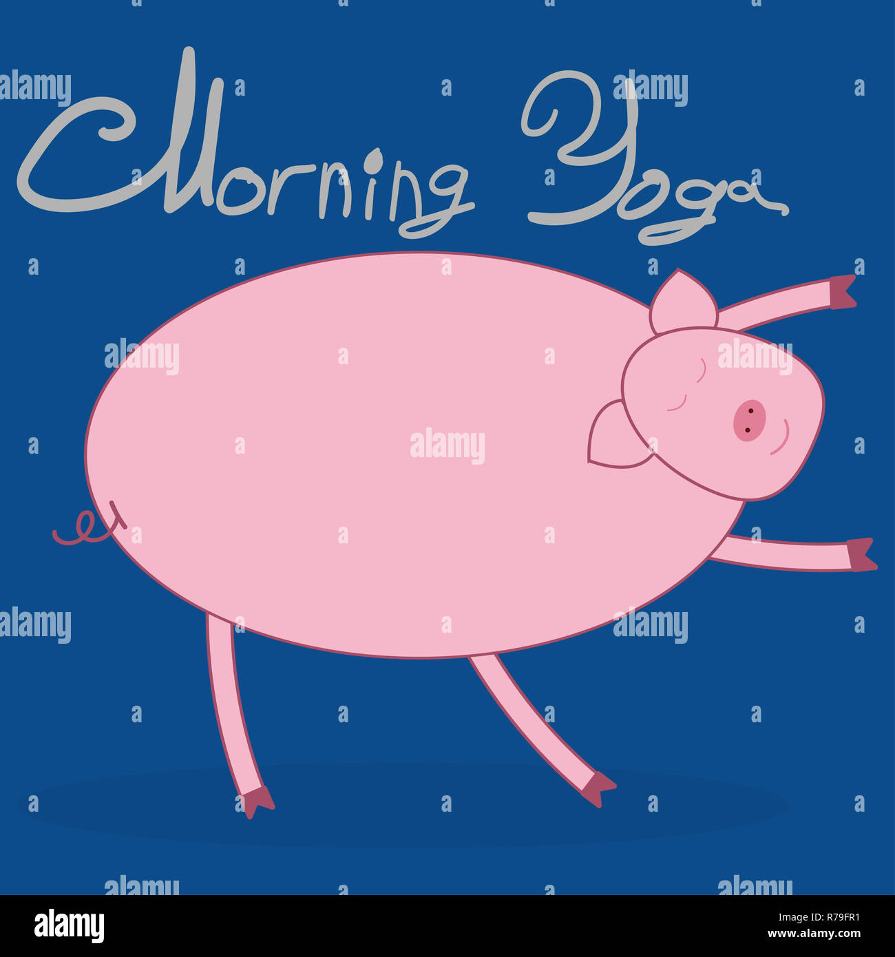 Morning yoga with a pig. Pig bends over and pulls the arms forward. Blue background. The text above Morning Yoga . - Stock Image