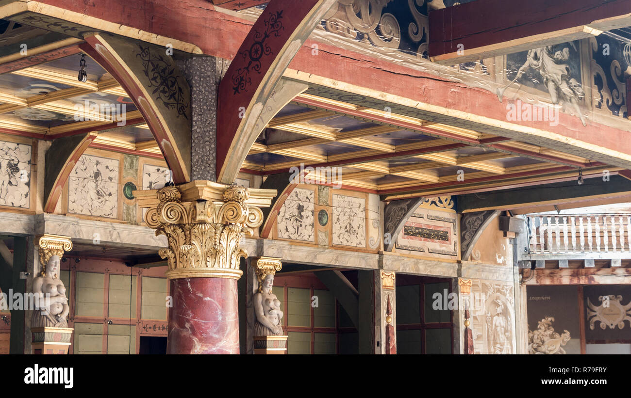 LONDON, UK - OCTOBER,13, 2014: Interior of the famous old Shakespeare's Globe Theatre in London - Stock Image