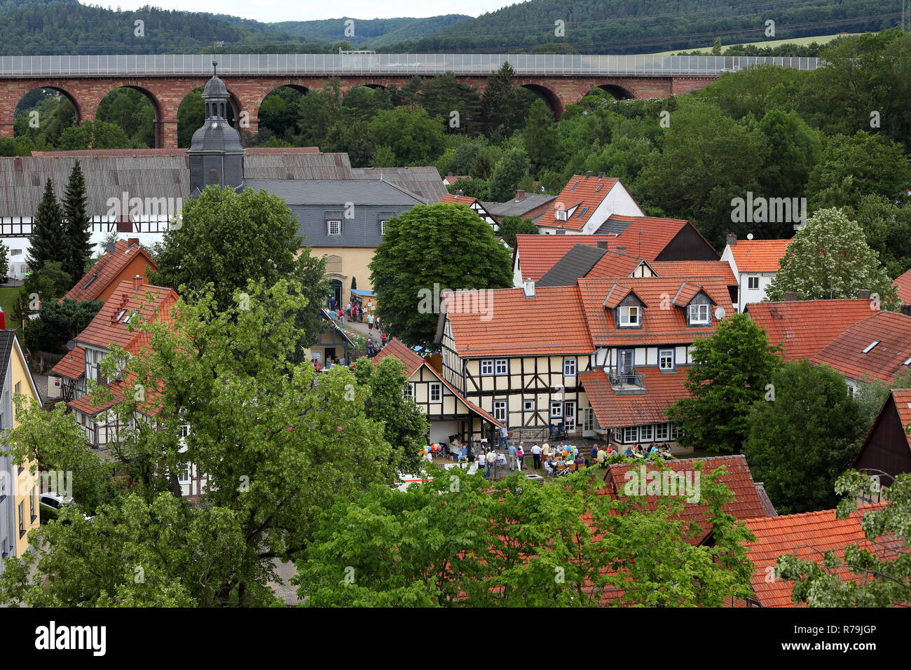 the village center of wommen in northern hesse Stock Photo