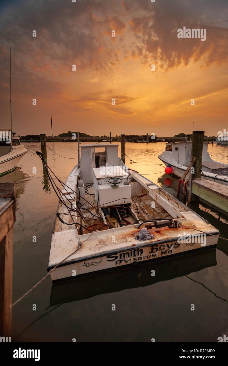 Smith Island marina in the Chesapeake Bay, Maryland Stock