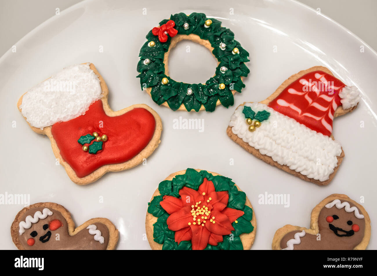 Traditional Christmas Cookies With Different Shapes Santa Hat And