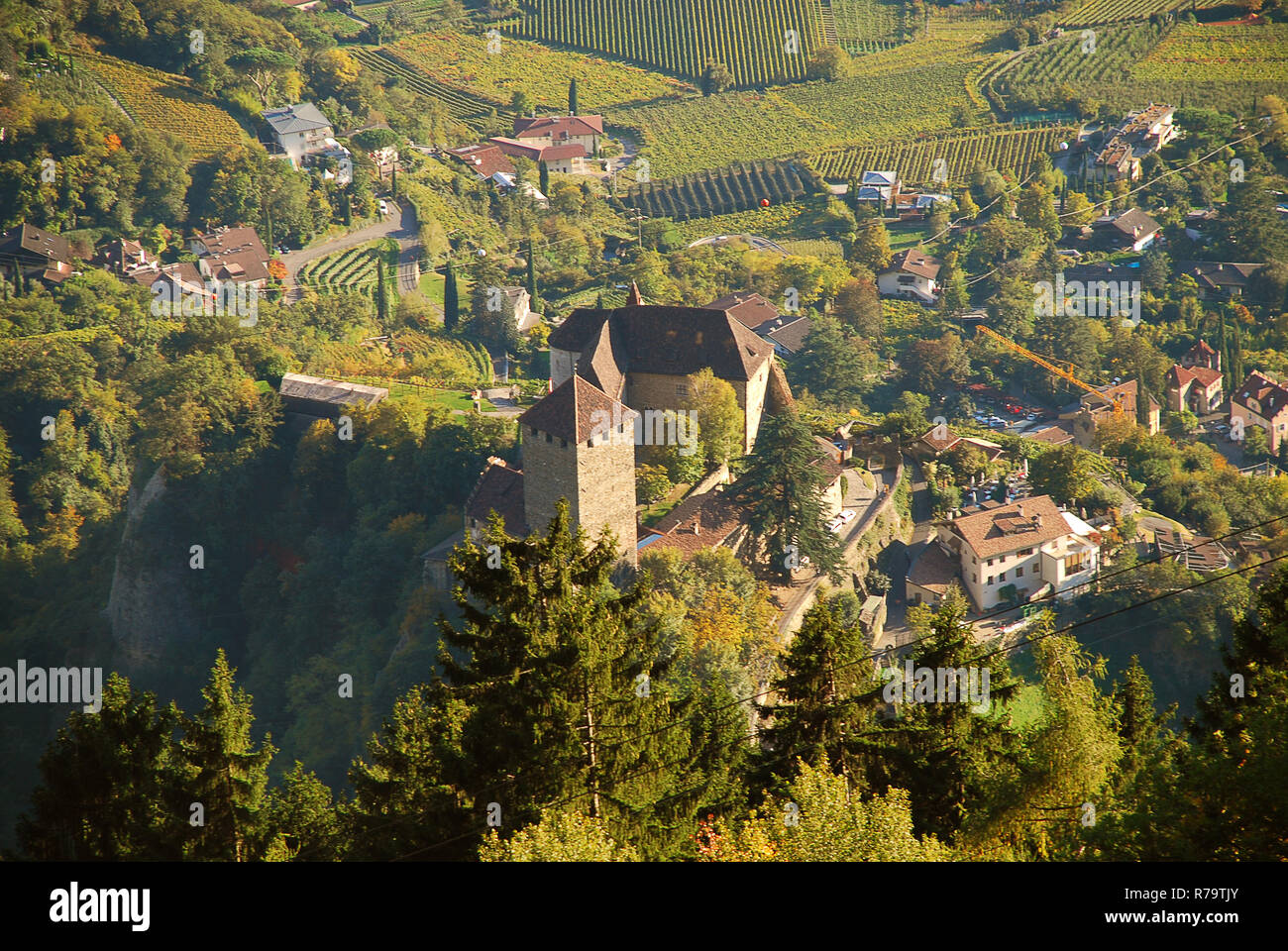 Aerial view of Tyrol Castle in Tirolo, South Tyrol, Italy. Tyrol Castle is home to the South Tyrolean Museum of Culture and Provincial History Stock Photo