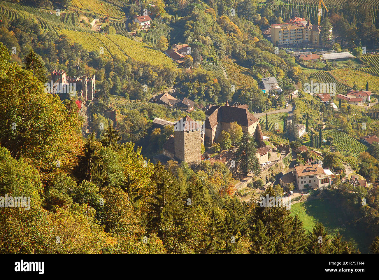 Aerial view of Tyrol Castle in Tirol, South Tyrol, Italy. Tyrol Castle is home to the South Tyrolean Museum of Culture and Provincial History Stock Photo