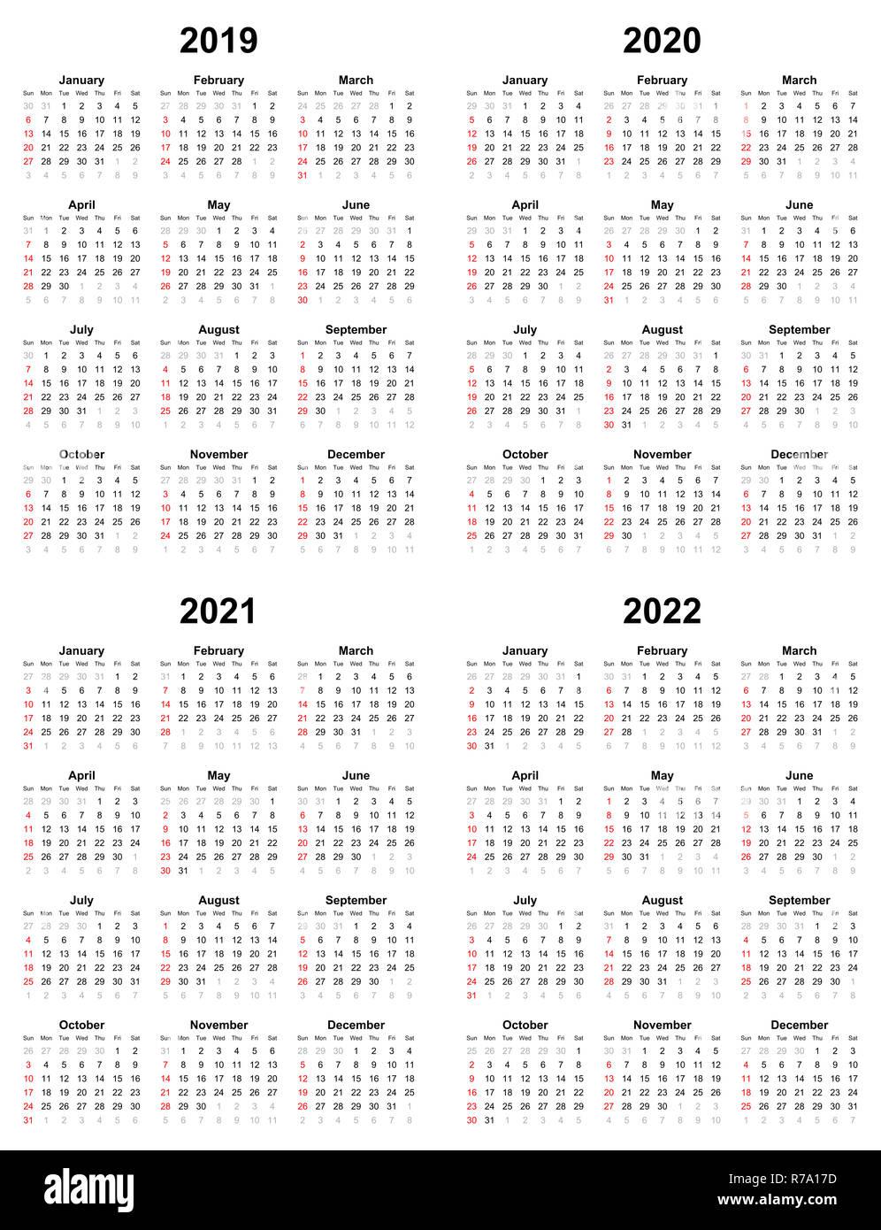 2020 Annual Calendar.Annual Plain Calendar Sunday First Day 2022 2021 2020 2019 Stock