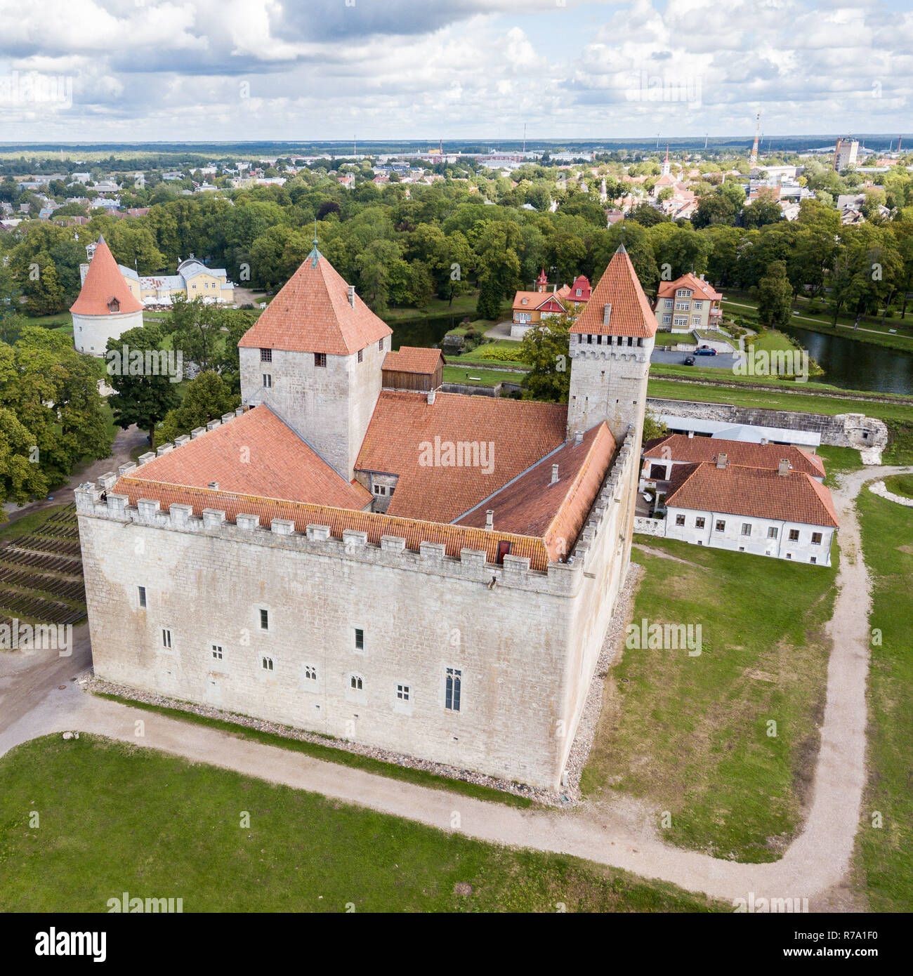 Fortifications of Kuressaare episcopal castle (star fort, bastion fortress) built by Teutonic Order, Saaremaa island, western Estonia, aerial view. - Stock Image