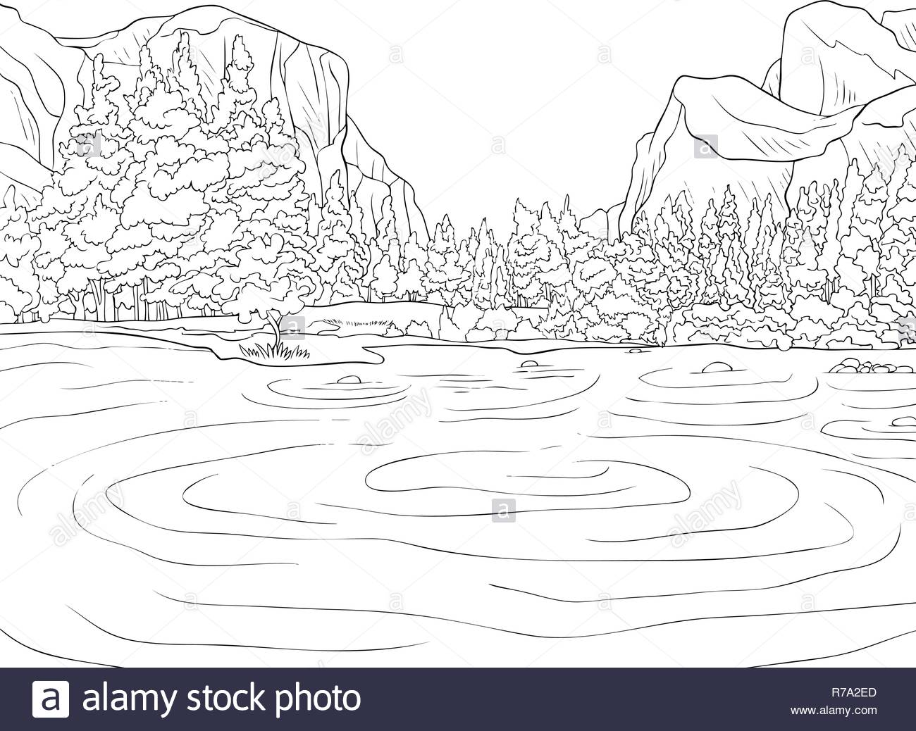 A nature landscape with mountains and lake image for adults ...