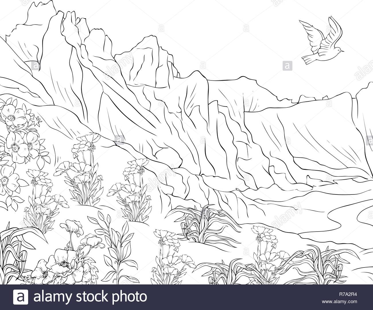 a nature landscape with mountainsflowers and lflying bird image for adultsline art style illustration for printa coloring bookpage for relaxing a R7A2R4