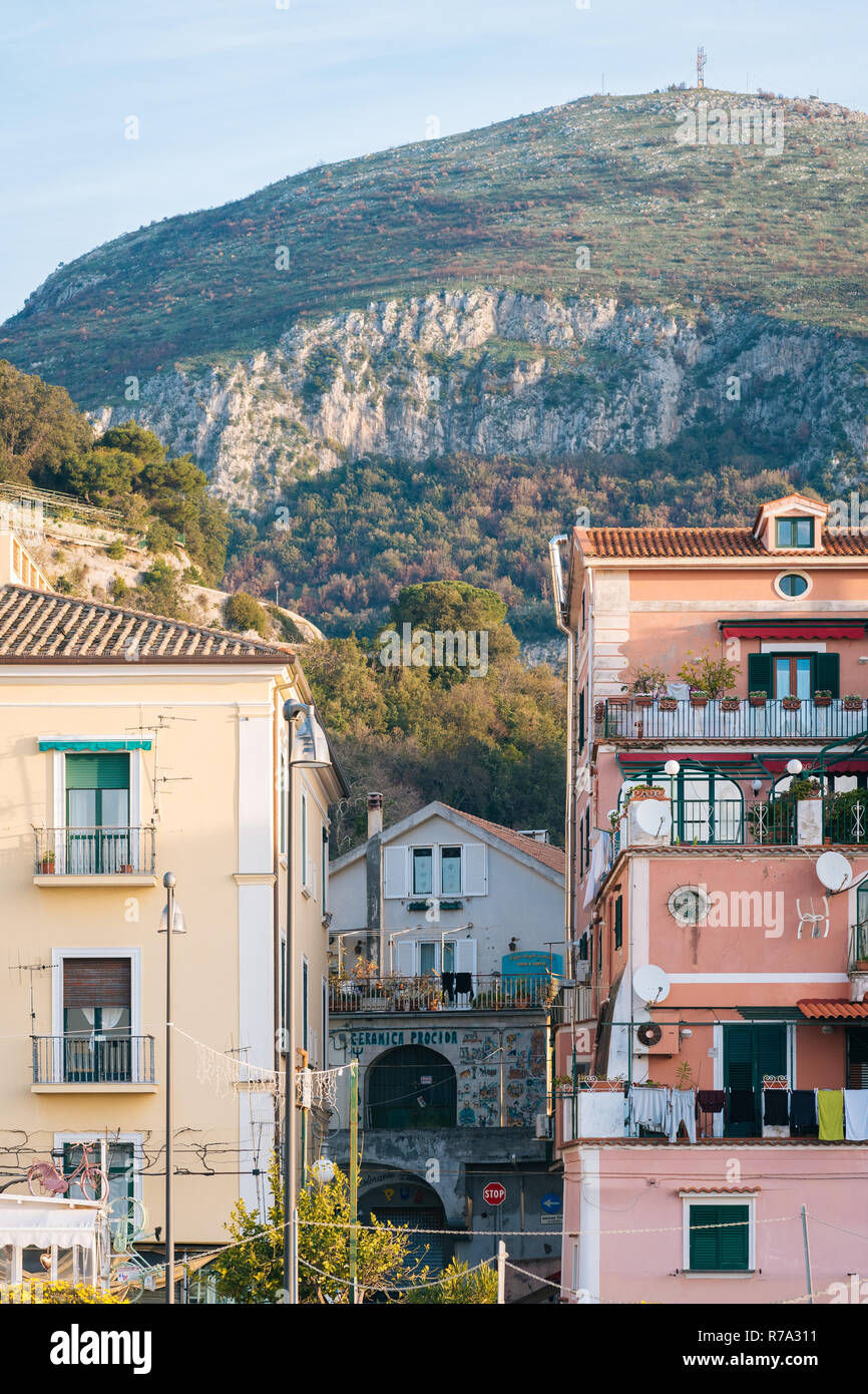 Houses and distant mountains in Vietri Sul Mare, Italy Stock Photo