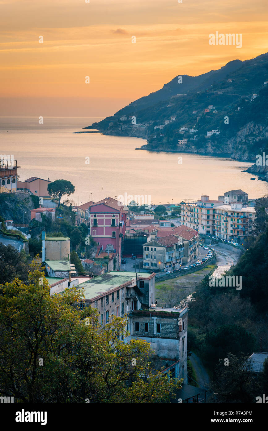 A sunset view of Vietri Sul Mare, Italy. Stock Photo