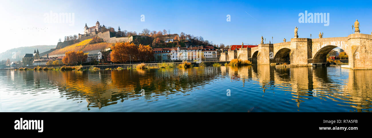 Beautiful Wurzburg town,view with old bridge and medieval castle,Bavaria,Germany. Stock Photo