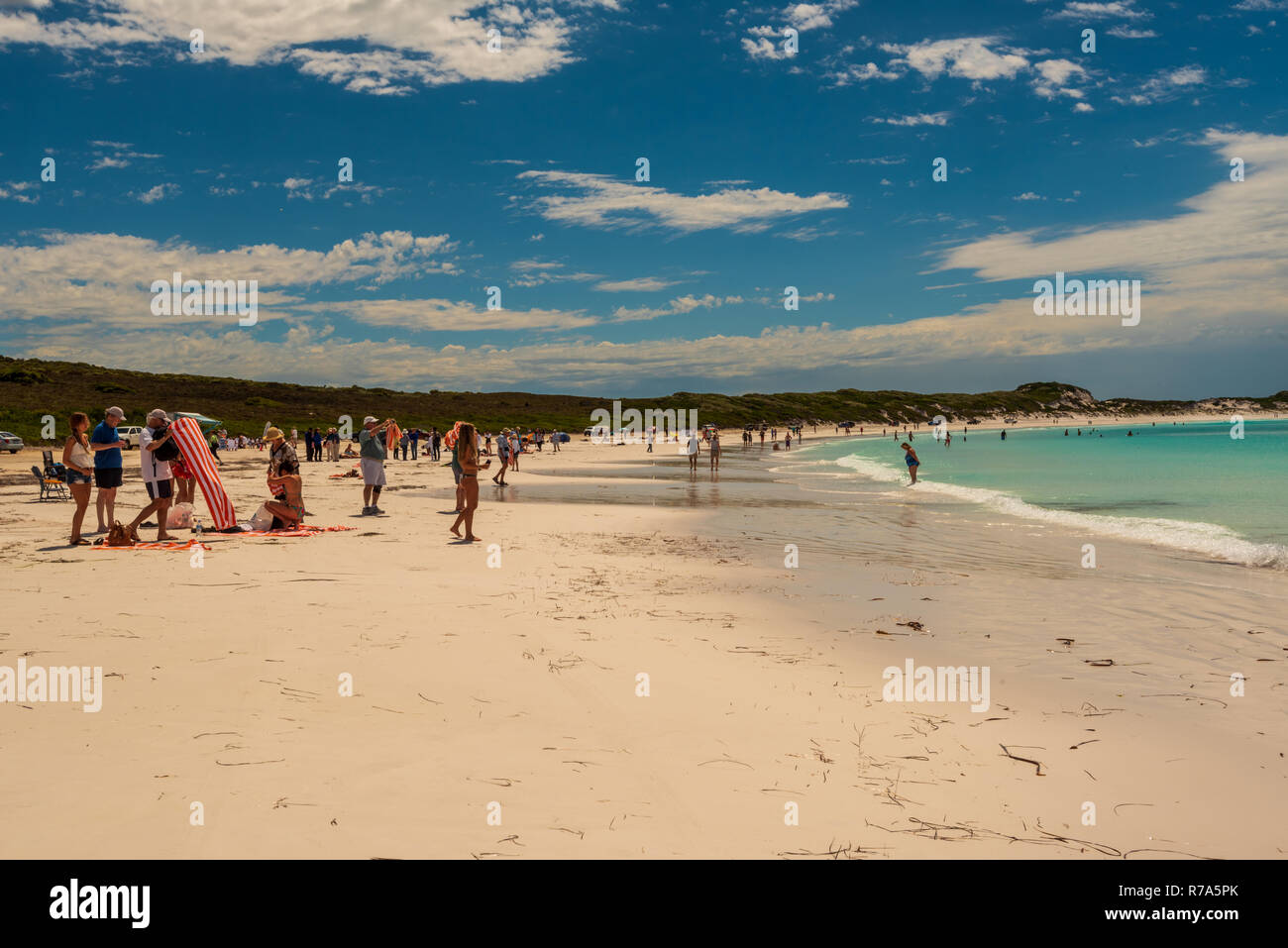 Visitors Enjoy the Beach at Hellfire Bay in Western Australia - Stock Image