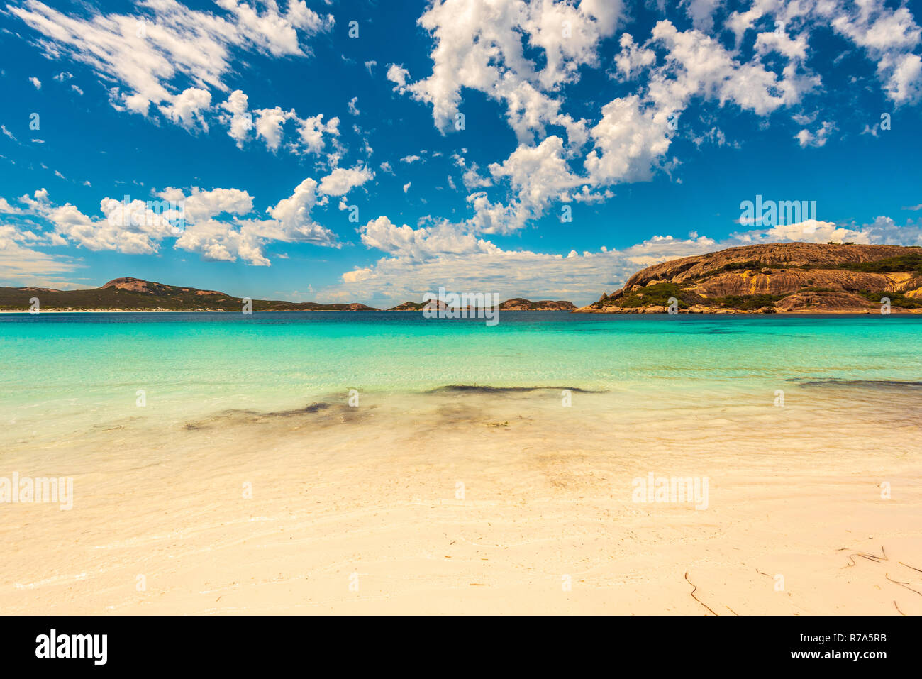 Wide-angle shot of Hellfire Bay in Western Australia. - Stock Image