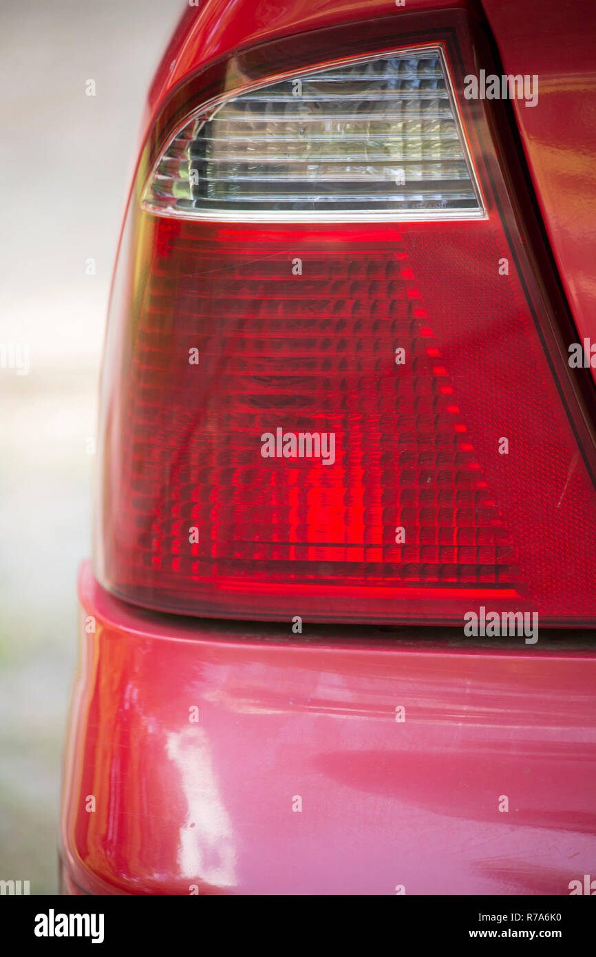 Close Up of an Unlit Rear Taillight - Stock Image