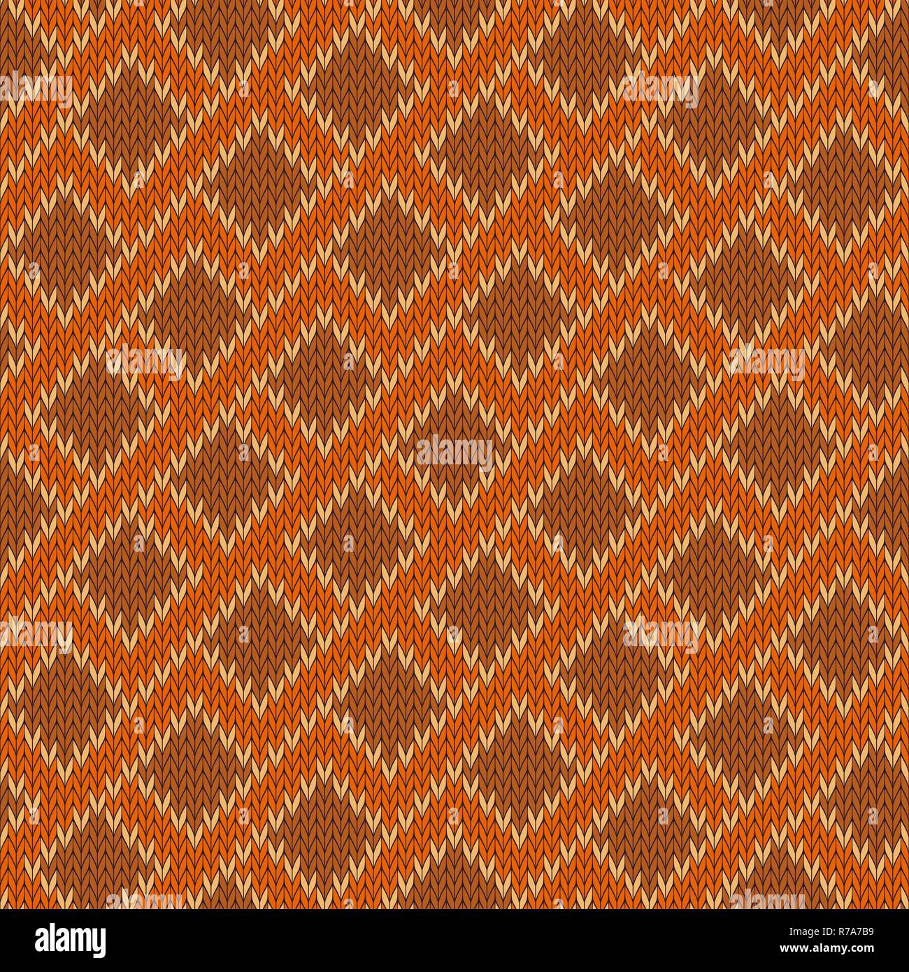 Zigzagging knitted wool seamless pattern - Stock Vector