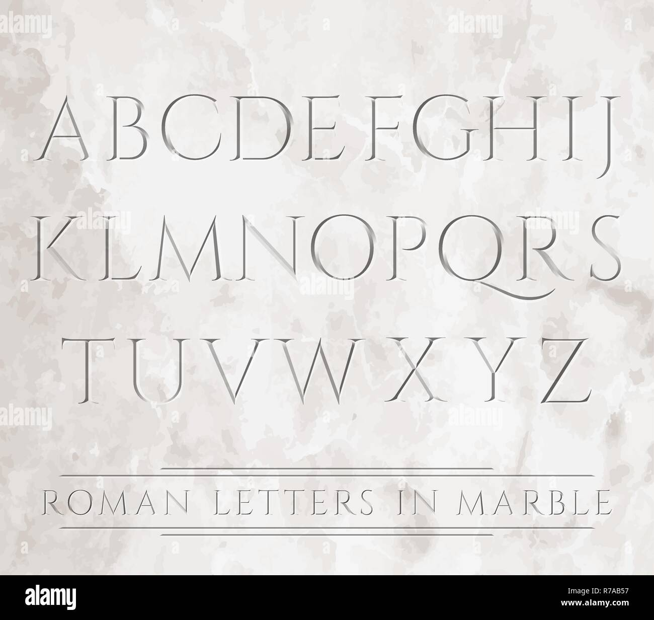 Ancient Roman letters chiseled in marble. Can be placed over different backgrounds. - Stock Vector