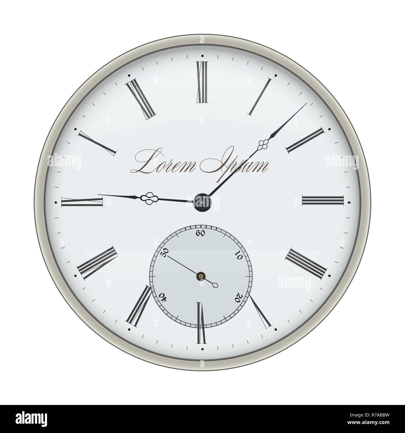 Clock. Vector illustration isolated on white background. - Stock Image