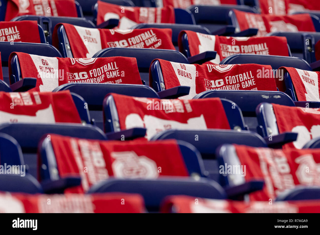 December 1st, 2018: B1G football championship game towels drape across seats before the 2018 Big Ten Championship game between the Northwestern Wildcats and the Ohio State Buckeyes on December 01, 2018 at Lucas Oil Stadium in Indianapolis, IN. Adam Lacy/CSM. - Stock Image