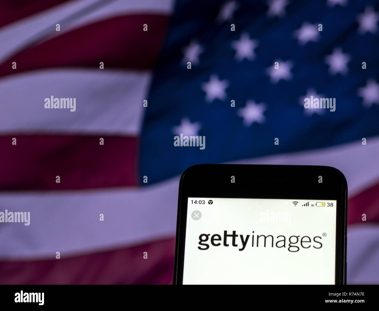 Kiev, Ukraine. 7th Dec, 2018. Getty Images Media company logo seen displayed on smart phone. Credit: Igor Golovniov/SOPA Images/ZUMA Wire/Alamy Live News - Stock Image