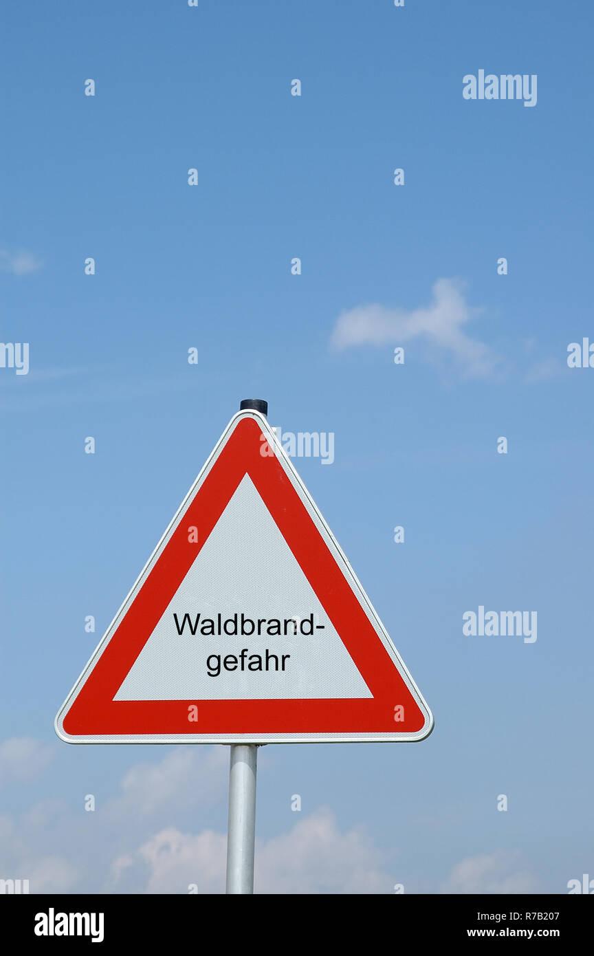 warning sign forest fire danger - Stock Image