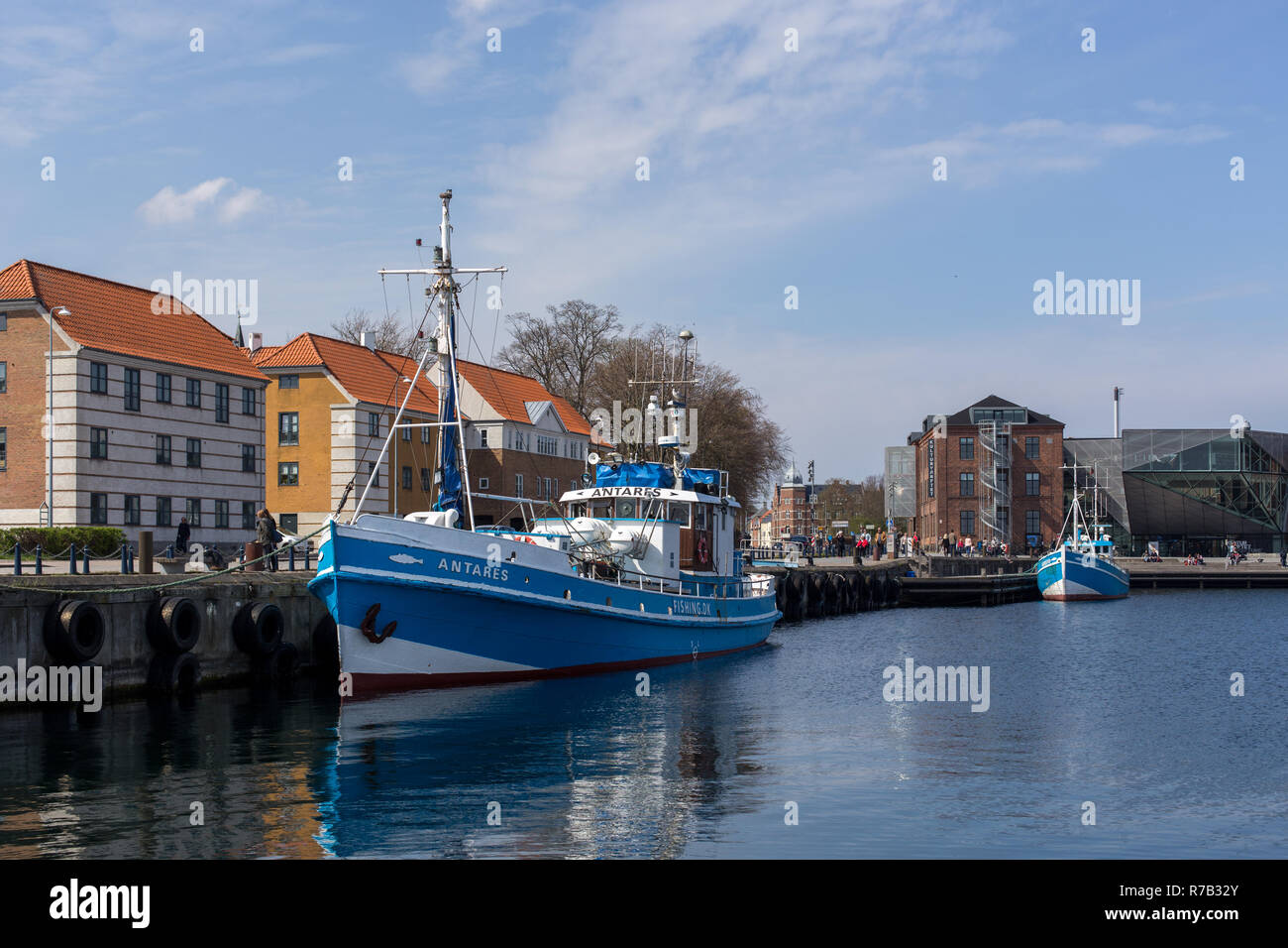 Fishing boats in the port of Helsingor, Denmark - Stock Image