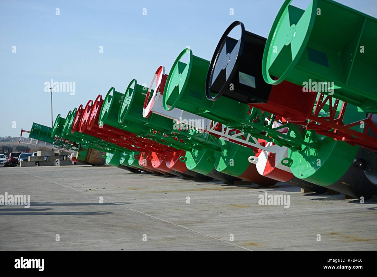 Recently Painted Aids To Navigation Buoys Lay Ready To Be