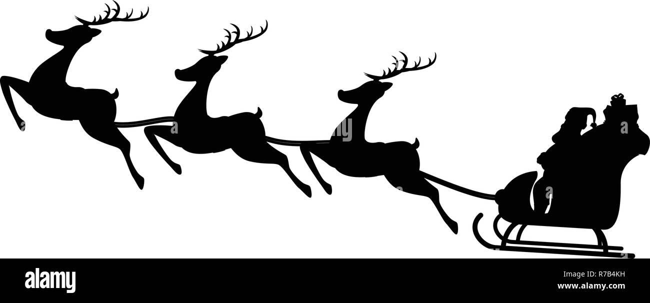 Santa Sleigh Reindeer Black and White Stock Photos ...